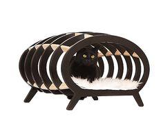 Кушетка для котиков Stripe - березовая фанера - Д60хШ36хВ36 см