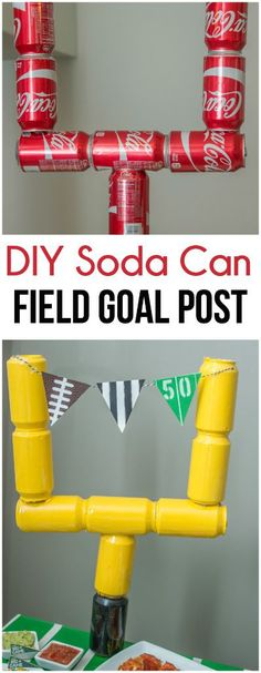 Love the idea of using empty soda cans to make a field goal post, perfect for Su… Love the idea of using empty soda cans to make a field goal post, perfect for Super Bowl party decorations! More from my site SUPER EASY & CHEAP Super Bowl Party Decorations Football Party Games, Football Party Decorations, Football Banquet, Football Tailgate, Football Themes, Football Birthday, Sports Birthday, Sports Party, Football Season