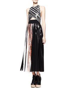 Pleated+Crisscross+Foil+Dress+by+Proenza+Schouler+at+Neiman+Marcus.