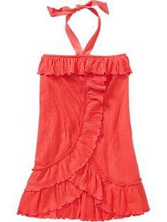 Girls Ruffled Crinkle-Jersey Tube Dresses | Old Navy