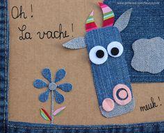 The collec '- toutpetitrien site! Wool Applique, Embroidery Applique, Diy For Kids, Crafts For Kids, Denim Scraps, Denim Art, Jean Crafts, Denim Ideas, Recycle Jeans