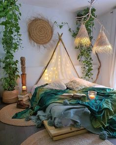 Bohemian Bedroom Decor, Boho Room, Boho Decor, Moroccan Bedroom, Bohemian House, Hippie House Decor, Bohemian Style Bedrooms, Bohemian Living, Bedroom Plants Decor