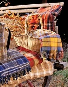 Tartan Plaid Fashions from country styles to high-end fashion statements. In love with Tartan plaid fabrics and designs for decorating the home. Fall Picnic, Picnic Time, Summer Picnic, Country Picnic, Country Farmhouse, What A Nice Day, Happy Fall Y'all, Autumn Day, Autumn House