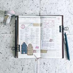 TN: 18 / 52 🗓 ================ Traveler's Notebook - Regular (Camel) Sarasa Clip 0.5mm - Vintage Blue Gray Classiky Washitape - Colorful Textile Pattern