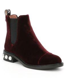 30413292b00 Louise et Cie Vinn Velvet Pearl Detail Chelsea Block Heel Booties