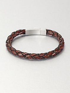 Tateossian - Single Braid Leather Bracelet