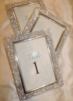 4 by 6 Rhinestone Picture Frame Wedding Table by RhinestoneVanity