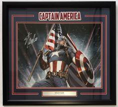 Stan Lee Signed Framed Marvel 16x20 Captain America Stan Lee Hologram