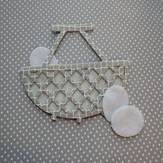 Gray felt wicker style basket with eggs felt cut out by WhimsyFelt