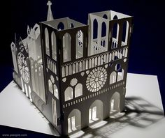 Notre Dame Cathedral -180-Degrees-Open Pop-Up DIY Kirigami Architecture