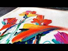 Abstract painting / Abstract floral / Simple brush strokes in Acrylics / Demonstration - YouTube