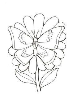 A colorier, un papillon qui récolte le pollen d'une fleur