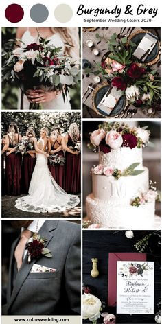 Top 8 September Wedding Color Combos for 2020 - Burgundy + Grey. burgundy wedding Top 8 September Wedding Color Combos for 2020 Burgundy Wedding Colors, Winter Wedding Colors, Spring Wedding, Wedding Color Schemes Fall Rustic, Summer Wedding Themes, Burgundy Top, Color Themes For Wedding, Color Scheme Wedding, Wedding Color Palettes