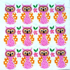 4 x Single  Table Paper Napkins / Craft / Party /for Decoupage / LITTLE OWLS