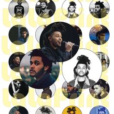"""20 Weeknd Digital Party Stickers Circles size 1"""" and 2"""" sheet A4 (8.5''x11'')…"""