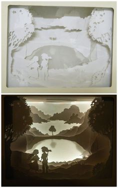 Paper Cut Shadow Box #paper_craft #decoration #LED #silhouette
