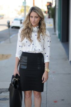 I want to add leather patch pockets to a plain black skirt.