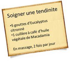 soigner une tendinite avec l'euclyptus citronné
