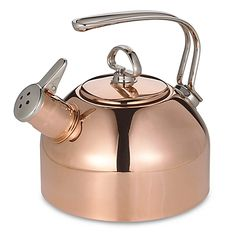 Copper, 1.8-quart tea kettle has pleasant sounding authentic two-tone Hohner® harmonica whistle. Smooth flat base has a copper disc bottom for quick heating of water, which can be used on ceramic and glass cooktops.