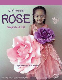 Paper Flower Template Printable Paper Rose Template DIY