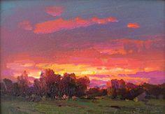 "Ovanes Berberian: ""Sunset II"" 5 x 7"" original framed oil 1250.00"