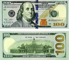 100 dollar bill front and back actual size - Yahoo Image Search Results Us Currency Bills, Fake Money Printable, Twenty Dollar Bill, Dollar Money, Dollar Bills, Money Template, Passport Card, Money Notes, In God We Trust