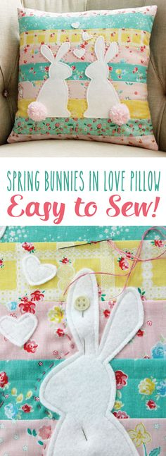 I'm having a blast sewing up all these Spring projects this week! The house is looking so bright and cheery! I couldn't resist another project with the Bunnies and Blooms line of fabrics and I love how it looks in this pretty pillow.