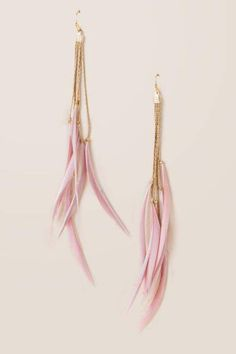 The Krista Feather Earrings are long drop earrings featuring pink feathers. Feather Jewelry, Feather Necklaces, Feather Earrings, Gold Hoop Earrings, Tassel Necklace, Drop Earrings, Feather Headdress, Pink Earrings, Cute Jewelry