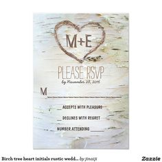 Birch tree heart initials rustic wedding RSVP card