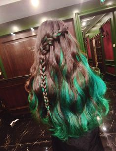 pretty brown and green hair