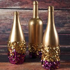 These Glamorous Golden Sequin Vases make for simple, homemade New Year's centerpieces.
