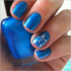 "Electric neon blue nail polish - ""Blue eyed freak"" indie custom nail polish from EmilydeMolly on Etsy. Neon Blue Nails, Blue Nail Polish, Funky Nails, Cute Nails, Pretty Nails, Sexy Nails, Chloe, Blue Nail Designs, Art Designs"