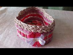 szív alakú Плетение из газет корзинка сердечко weaving newspapers periódicos de tejer - YouTube