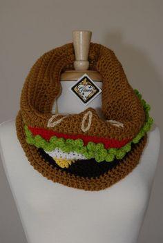 Burger Crochet Cowl Food Scarf Crochet Scarf by Gitanaflipflops
