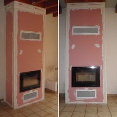 Réalisation d'une cheminée avec foyer à bois LOTUS H470 Black Magic...