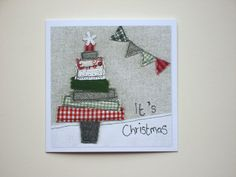 Quirky Christmas tree card, greeting card, textile print card, blank card, embroidery print, Christmas tree print, textile art