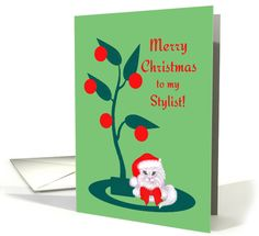 Christmas for Hair Stylist White Cat in Santa Hat card