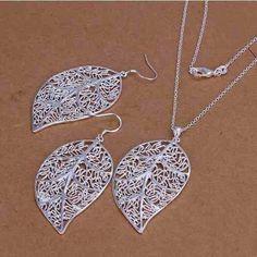 conjunto  folhas banhado em prata colar e pingente + brincos