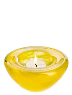 Kosta Boda Atoll Yellow Candle