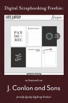 Life Lately pocket cards freebie from Dunia Designs - J. Conlon and Sons Digital Scrapbooking Freebies, Pocket Scrapbooking, Project Life Layouts, Pocket Cards, Sons, Challenges, Traditional, Feelings, Projects