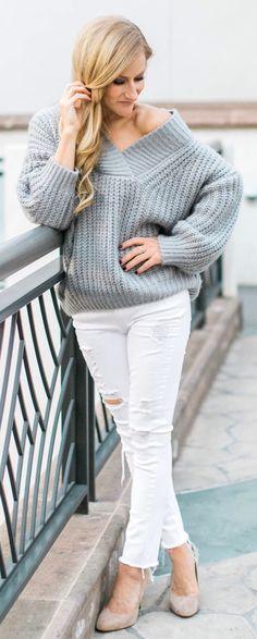 #spring #fashion Grey Knit