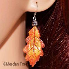 Oak Leaf Earrings in Late Autumn Tones - Sacred Oak, Pagan Jewellery, Wiccan, Witch, Druid Pagan Jewelry, Fall Jewelry, Unique Jewelry, Late Autumn, Pentacle, Leaf Earrings, Jewellery, Sterling Silver, Beads