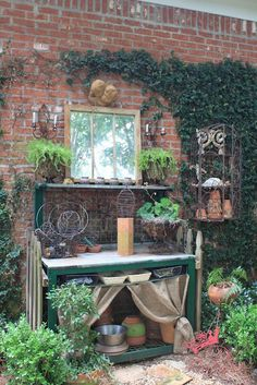 Potting Benches....I collect them!     via   Not in my garden but on my Pinterest Board titled....Potting Benches .     via   I can't get e...