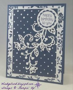 Windy's Wonderful Creations: Navy & White Birthday For Cheri, Stampin' Up!, Flourish thinlits, Floral Boutique DSP, Circle of Spring
