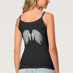 ANGEL WINGS Gray Touched Feathers Customizable Spaghetti Strap Tank Top Tank Tops