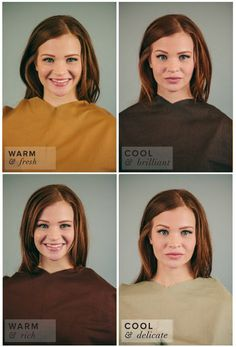 Spring Color Complexion Test. Different Shades of Brown: Camel, Coffee, Chocolate, Khaki. Camel best suits her complexion.