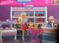 "Barbie Shoppin' Fun Barbie & Kelly Supermarket Playset (1996 Arcotoys, Mattel) by Mattel. $100.01. REQUIRES ASSEMBLY. All included items are pretend & intended for Barbie & 11.5"" fashion size dolls & Kelly & 4.5"" size dolls; NO DOLLS are included. Set can be used w/other size dolls, as preferred.. Includes: Shelf Unit, Freezer, Check-Out Counter with Candy Tray, Cash Register, Shopping Cart, Paper Bags, Pretend Food & Drinks.. Barbie Shoppin' Fun Barbie & Kelly Supe..."