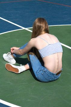 Top: soft grunge, grey crop top, straight jeans, 90s style, white sneakers, crop tops - Wheretoget