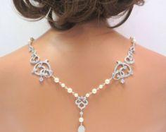 Escenario nupcial collar, collar detrás de la boda, joyería nupcial, collar del Rhinestone, collar de perlas, collar de declaración, collar CZ