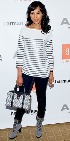 lace-up booties and a Gucci bag to her striped Alice + Olivia long-sleeved tee and skinny jeans